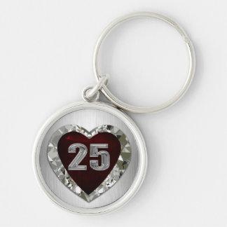 Porte - clé de coeur de 25 diamants porte-clé rond argenté