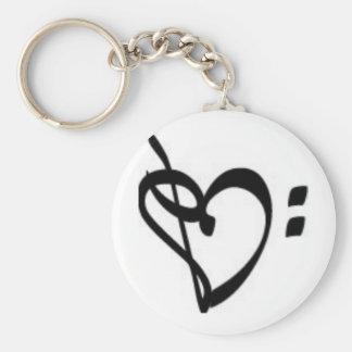 Porte - clé de coeur de clef de musique porte-clé rond