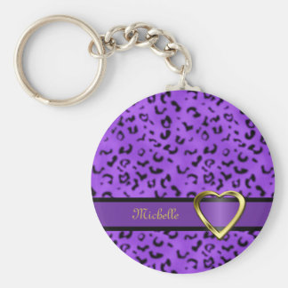 Porte - clé de coeur d'empreinte de léopard porte-clé rond
