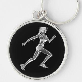 Porte - clé de coureur de chrome de dames porte-clé rond argenté