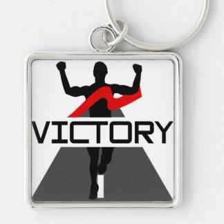 Porte - clé de coureur de la victoire des hommes porte-clé carré argenté