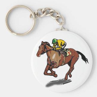 Porte - clé de course de chevaux porte-clé rond