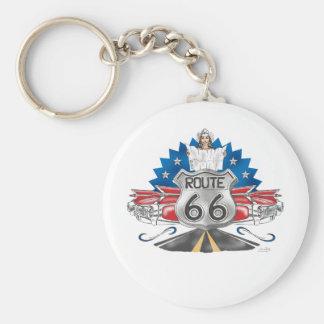 Porte - clé de cow-girl de l'itinéraire 66 porte-clé rond