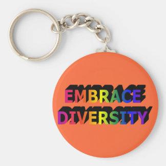 Porte - clé de diversité d'étreinte (arc-en-ciel) porte-clé rond