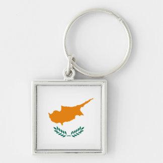 Porte - clé de drapeau de la Chypre Porte-clé Carré Argenté