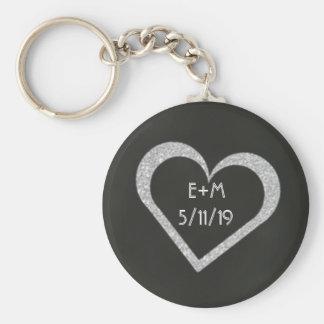 Porte - clé de faveur de mariage de coeur de porte-clé rond