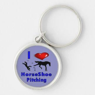 Porte - clé de fers à cheval porte-clé rond argenté