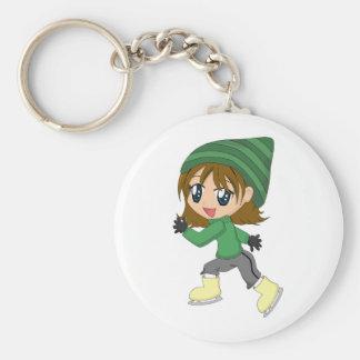 Porte - clé de fille de patinage porte-clé rond