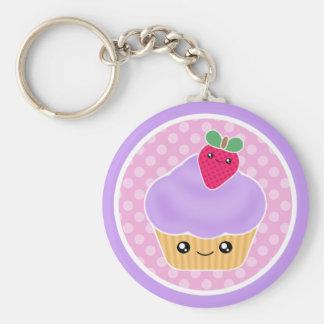 Porte - clé de fraise de petit gâteau de Kawaii Porte-clé Rond