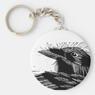 Porte - clé de gravure sur bois en Raven Porte-clé Rond
