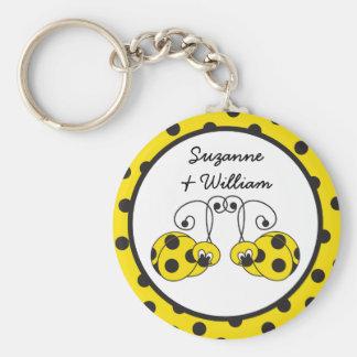 Porte - clé de jaune de couples de coccinelle porte-clé rond