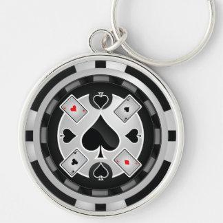 Porte - clé de jeton de poker de casino porte-clé rond argenté