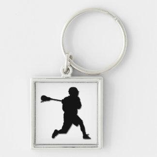 Porte - clé de joueur de lacrosse porte-clé carré argenté