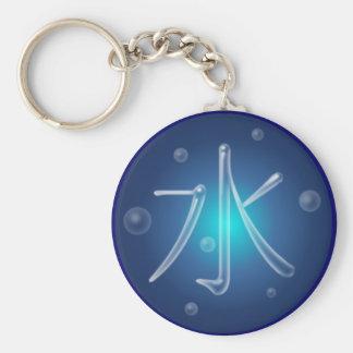 Porte - clé de kanji de l'eau porte-clé rond