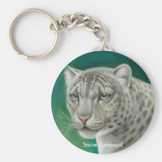 Porte - clé de léopard de neige porte-clé rond