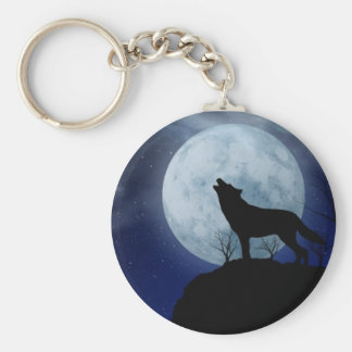 Porte - clé de loup de pleine lune porte-clé rond