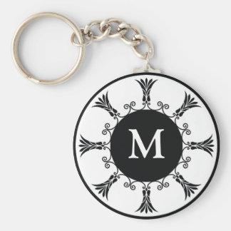 Porte - clé de monogramme de lettre initiale : : porte-clé rond