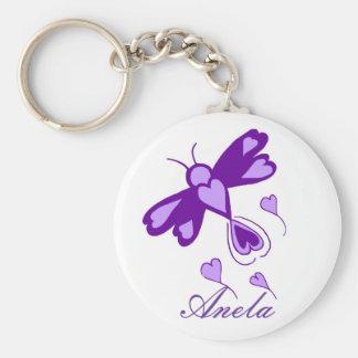 Porte - clé de nom de modèle de libellule de coeur porte-clé rond