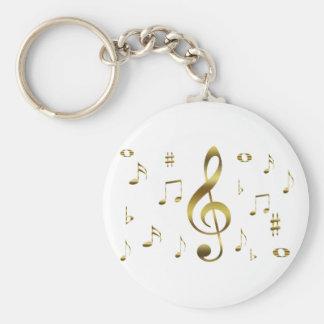 Porte - clé de notes musicales d'or porte-clés