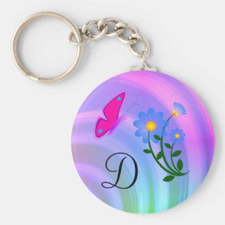 Porte - clé de papillon de fleur du monogramme D Porte-clés