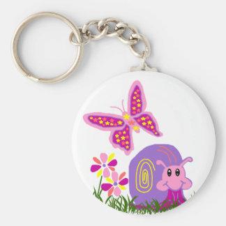 Porte - clé de papillon de l'escargot n porte-clé rond