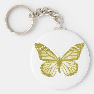 Porte - clé de papillon d'or porte-clé rond