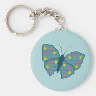 Porte - clé de papillon repéré par turquoise porte-clé rond