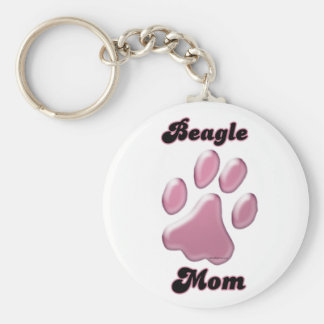 Porte - clé de Pawprint de rose de maman de beagle Porte-clés