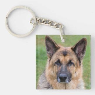 Porte - clé de photo de chien de berger allemand porte-clé carré en acrylique double face