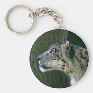 Porte - clé de photo de léopard de neige beau porte-clé rond