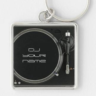 Porte - clé de plaque tournante du DJ Porte-clé Carré Argenté