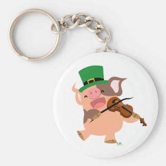 Porte - clé de porc de violoniste du jour de St Porte-clé Rond