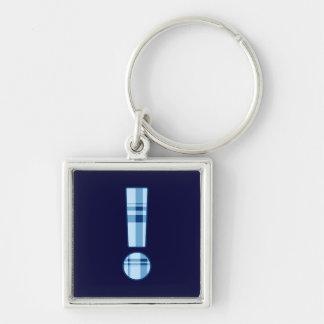 Porte - clé de prime de point d'exclamation porte-clé carré argenté