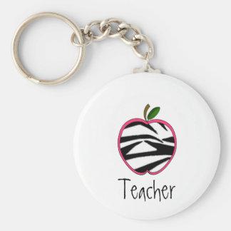 Porte - clé de professeur - contour rose d'Apple W Porte-clé Rond