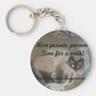 Porte - clé de promenade de chat porte-clé rond