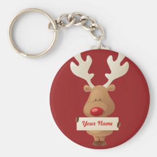 Porte - clé de renne de Noël Porte-clé Rond