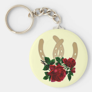 Porte - clé de roses rouges et de chaussures de porte-clé rond