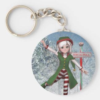Porte - clé de Sadie Elf de Joyeux Noël Porte-clé Rond