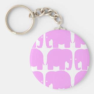 Porte - clé de silhouette d'éléphants roses porte-clé rond
