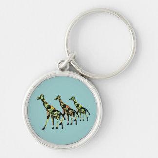 Porte - clé de sortie de famille de girafe porte-clé rond argenté