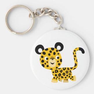 Porte - clé de sourire de léopard de bande porte-clé rond
