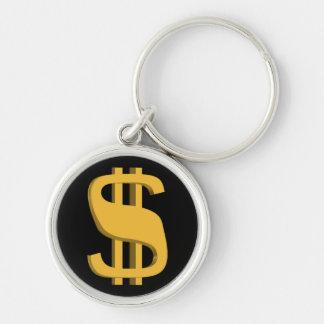 Porte - clé de symbole dollar de l'or 3D Porte-clé Rond Argenté