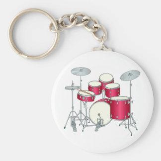 Porte - clé de tambours rouges porte-clé rond