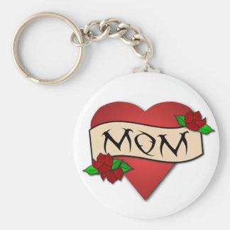 Porte - clé de tatouage de coeur de maman porte-clé rond