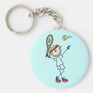 Porte - clé de tennis de chiffre hommes de bâton porte-clé rond