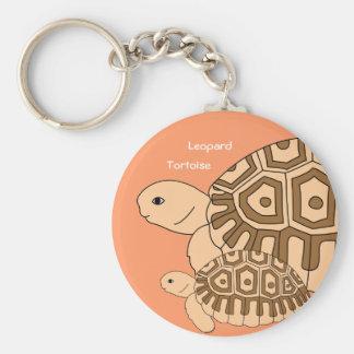 Porte - clé de tortue de léopard de bébé (orange porte-clé rond