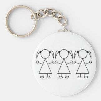 Porte - clé de triplets - filles porte-clé rond