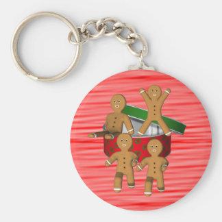 Porte - clé de vacances de Noël de bonhommes en Porte-clé Rond