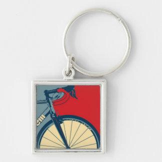 Porte - clé de vélo de route porte-clé carré argenté