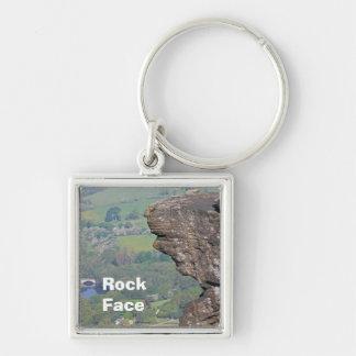 Porte - clé de visage de roche porte-clé carré argenté